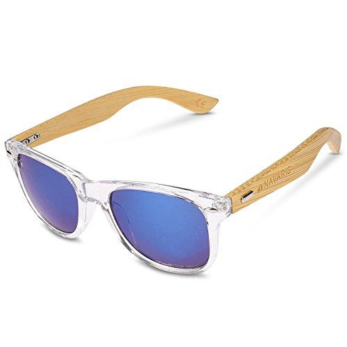 Navaris Gafas de sol UV400 - Gafas de madera para hombre y mujer - Gafas de sol con patillas de madera en diferentes colores - Transparente y azul