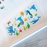 BeeHomee Cartoon Non Slip Bathtub Mat for Kids - 35x16 Inch XL Large Size Anti Slip Shower Mats for for Toddlers Children Baby Floor Tub Mats (Blue Ocean)