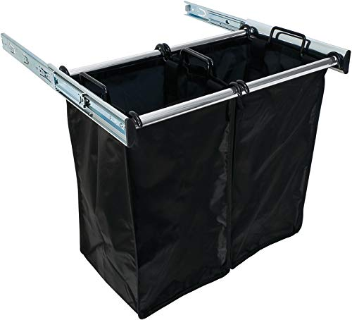 Pull-Out Double Hamper - 24 Inch Polished Chrome