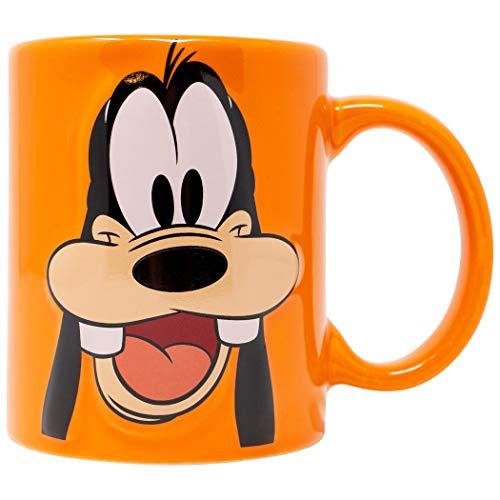 Taza de 325 ml, diseño de cara de goofy de Disney, color naranja