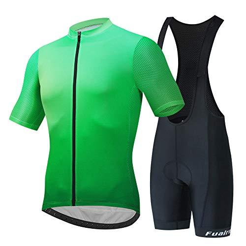 JINFAN Jerseys De Ciclismo para Hombre Trajes De Ciclismo De Manga Corta con Conjunto De Ropa Deportiva Al Aire Libre Acolchado con Gel 3D,Strap-Suit-XXL