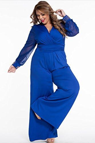 Royal blue pant suit plus size _image2