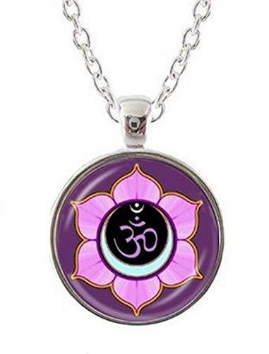 Unbekannt Générique Halskette Anhänger Om Mandala Blume Lotusblüte Hinduismus Buddhistisch Kette versilbert.