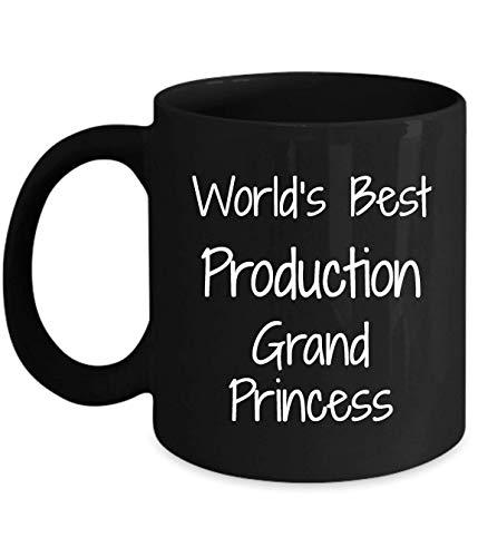 N\A Regalo para la producción Gran Princesa - lo Mejor del Mundo - Divertida Novedad Idea de Regalo café Taza de té Regalos Divertidos cumpleaños Navidad Aniversario Gracias apreciación Taza Negra