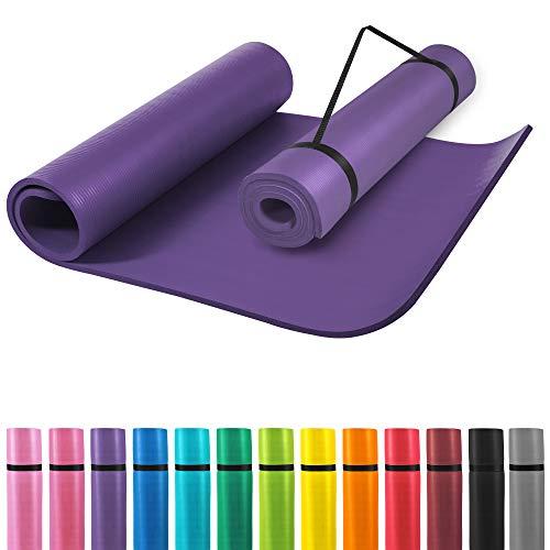 GORILLA SPORTS® Yogamatte mit Tragegurt 190 x 100 x 1,5 cm Rot rutschfest u. phthalatfrei – Gymnastik-Matte für Fitness, Pilates u. Yoga in Lila