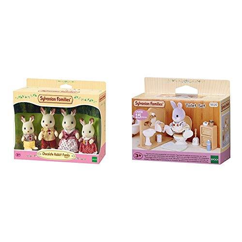 SYLVANIAN FAMILIES Familia de Conejos + Toilet Set Mini muñecas y Accesorios, (Epoch para Imaginar 3563)