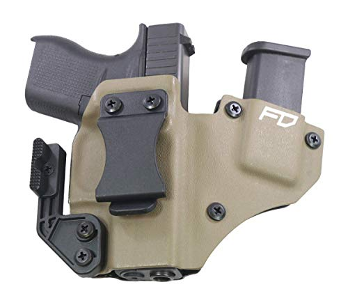 Fierce Defender IWB Kydex Holster Glock 43'+1 Series W/Claw -Made in USA- (Flat...