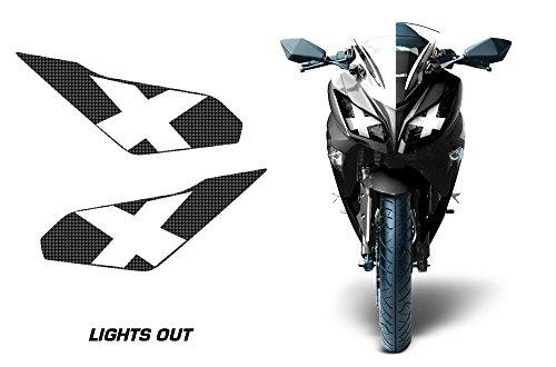 AMR Racing Sport Bike Headlight Eye Graphics Decal Cover Compatible with Kawasaki Ninja 300 2012-2014 - Lights Out