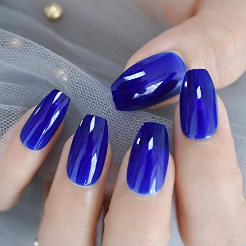 Wangguifu New Blue Jelly Coffin False Nail Solid Color Marine Heart Spirit And Adhesive Artificial Acrylic Nail Art Tips 24