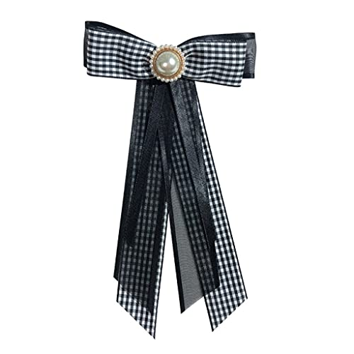 PHILSP Mujeres camisa collar Pin Rhinestone perla a cuadros cinta pajarita broche pre corbata negro+blanco B