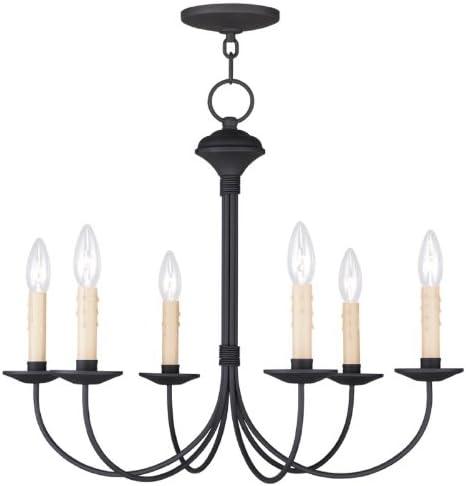 完売 Livex Lighting 4526-04 Heritage Black Chandelier 年間定番 6-Light