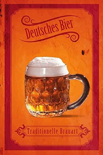 FS Bier Duits. Bier Tradionelle Brauart blikken bord gebogen Metal Sign 20 x 30 cm