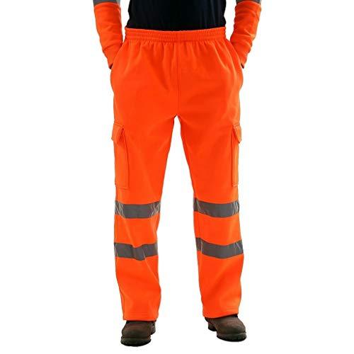 AmyGline Hose Herren Herren Sporthose Reflektierend Hosen Jogging Warnschutzhose Reflektionsstreifen Länge Sicherheit Arbeitshose Trainingshose Multi-Pocket