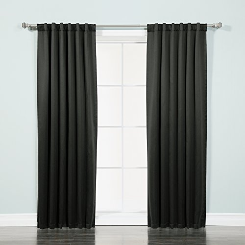 """Best Home Fashion Basic Thermal Insulated Blackout Curtains - Back Tab/Rod Pocket - Black - 52"""" W x 96"""" L – (Set of 2 Panels)"""