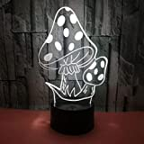 Lámpara de ilusión de luz nocturna 3D Lámpara de mesita de noche Forma de seta 7 colores que cambian Interruptor táctil Lámparas de decoración de escritorio Regalo de Navidad de cumpleaños con ba