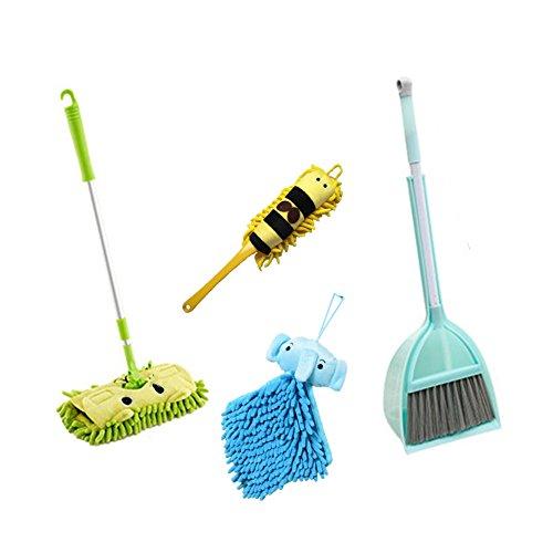 Xifando Kid's Housekeeping Cleaning Tools Set-5pcs,Include Mop,Broom,Dust-pan,Brush,Towel