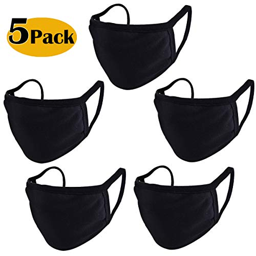 CIKIShield Black Cotton Unisex Face Reusable for Cycling Camping Travel for Kids Teens Men Women, Pack of 5