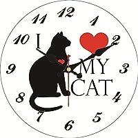 壁掛け時計 ヴィンテージウォールクロックかわいい猫デザイン大サイレントのためにリビングルームの牛サアトのホームインテリアキッチンウォッチウォール アイデア 自宅 キッチン 装飾用 (Color : 23949, Sheet Size : Diameter 12inch)