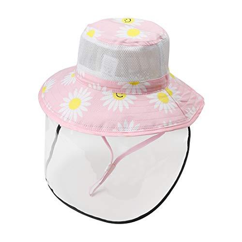 Happy Cherry - Bambino Cappello da Sole Protettivo con Visiera Integrale per Evitare Saliva Anti-Fog Anti-UV Bambini Berretto de Spiaggia Protezione Facciale con Cover Trasparente - 6-12 Mesi