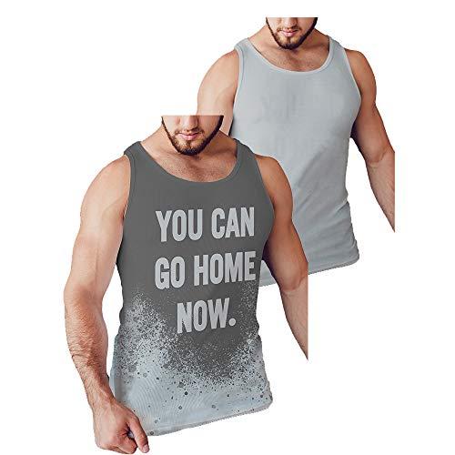 LeRage - Camiseta sin mangas con el mensaje oculto «You can go home now», divertida e ideal para entrenar en el gimnasio y como regalo, para hombre, color gris, tallas grandes - gris - Medium