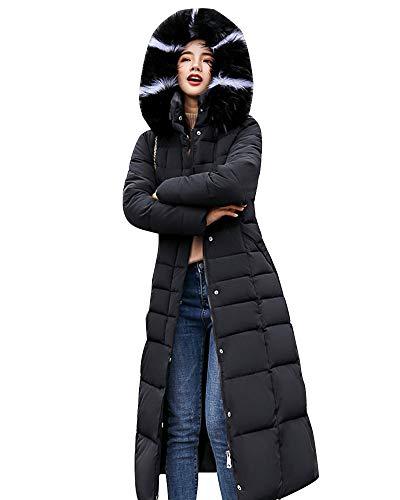 ZIXING Fashion Donna Piumino Inverno Lungo Giubbotto con Cappuccio di Pelliccia Ecologica Eleganti Caldo Giubbotto Trapuntata Giacca Nero XL