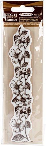 Stamperia Flower Border HD Gummistempel aus Kautschuk Bordüre mit Blumen, Braun, 4 x 18