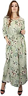 Kidwala Women's Long Dresses Floral Print with Front Tie Knot Long Sleeves