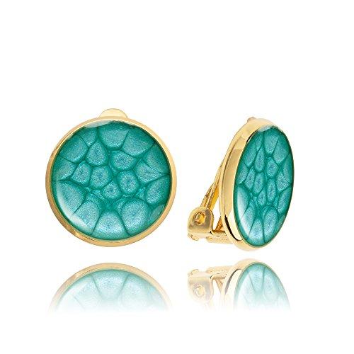Orecchini a Clip Classici Rotondi color Blu con Tonalità Dorate per Lei