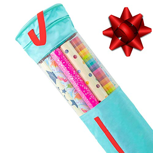 """clutter armour Wrapping Paper Storage – Gift Wrap Organizer That Fits 40"""" Rolls with Section for Storing Ribbons, Bows, Gift Tags & Tape – Modern Storage Keeps Your Gift Wrapping Supplies Organized"""