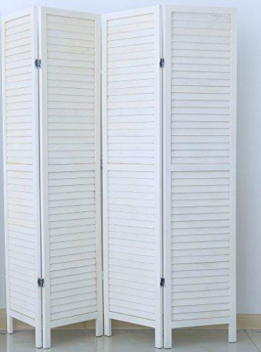 PEGANE Biombo persiana de Madera de 4 Paneles, Colorido con Blanco Barnizado...