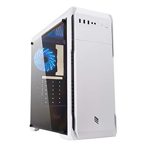 Noua Noob X13 Bianco Case ATX per PC Gaming 0.55MM SPCC 3*USB3.0 2.0 con Ventola Triplo Halo RGB Addressable 5V 3-Pin Pannello Laterale in Vetro Temperato (AxPxL: 450x420x180 mm)