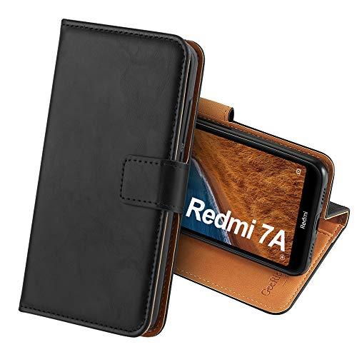 GeeRic Funda Compatible para Xiaomi Redmi 7A,Función de Soporte Ranura para Tarjeta Imán Antideslizante Correa de Cuero de PU,Libro Funda Compatible para Redmi 7A Negro