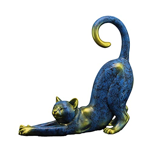 Statue de Chat en Résine, Statue de Chat Mignon étirée, Artisanat de Abstraite Moderne Créative, Utilisé pour la Décoration de la Maison et du Jardin et des Cadeaux pour Les Amants de Chat (Bleu)
