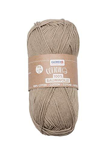 Glorex 5 Cotton 100% coton, polyvalent pour tricot, crochet et bricolage, très bonne qualité, doux et lavable, 50 g, env. 170 m, beige, 50 g