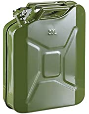 Relaxdays Jerrycan voor benzine, 20 liter, reserve jerrycan voor benzine en diesel, lekvrij, draaggreep, metaal, olijfgroen