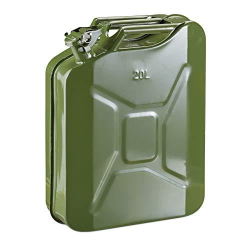 Relaxdays Benzinkanister 20 Liter, Reservekanister Benzin & Diesel, auslaufsicher, Tragegriff, Kanister Metall, olivgrün
