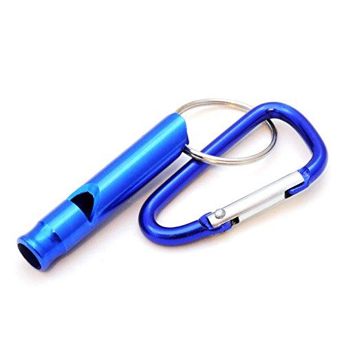 Ganzoo Compact Hond Fluitje/Training Fluitje met Karabijnhaak, Overlevingsfluitje voor buiten, Sleutelhanger, Kleur: blauw. Merk: Ganzoo.