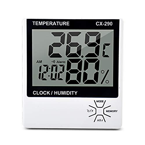 Donci Innenthermometer für Feuchtigkeitsmesser Digitales Thermometer LCD-Hygrometer Raum ℃ / ℉ Feuchtigkeitsmesser für Wecker Temperatur Thermometer-Hygrometer mit Max / MIN Speicher