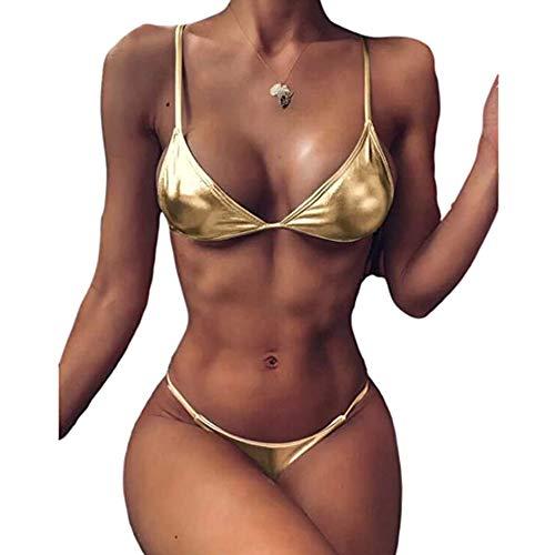 costume da bagno donna oro Bikini liquido o lucido per donna Bikini metallizzato a 2 pezzi Costume da bagno imbottito push up e fondo perizoma Abbigliamento da spiaggia sexy (Oro