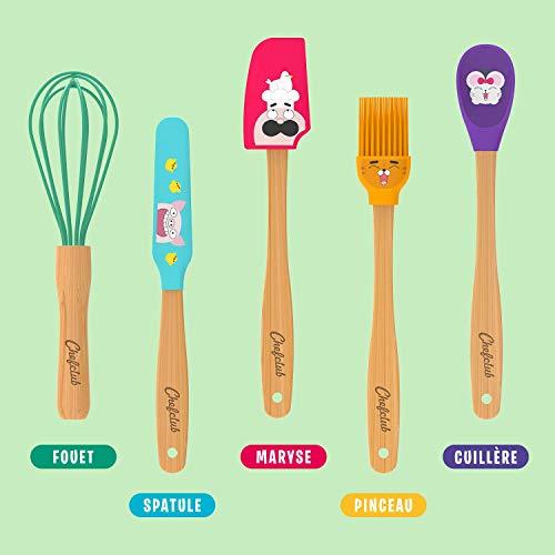 Chefclub Kids - Les Mini Ustensiles de Cuisine pour Enfant en Bambou et Silicone