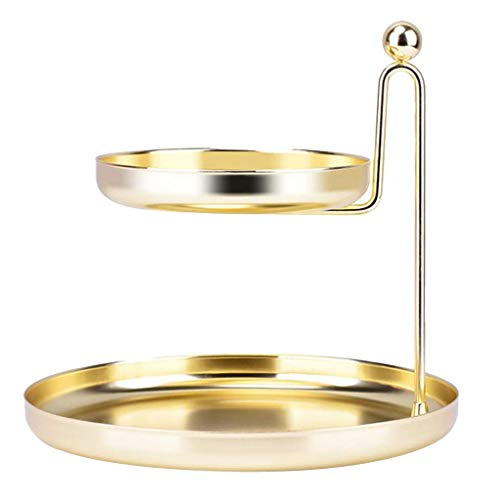 Estante de almacenamiento cosmético de doble capa de baño de cocina Organizador de escritorio Soporte de joyería - dorado, 20x13.5x19.5cm