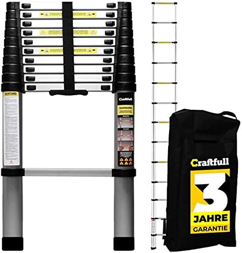 𝐂𝐑𝐀𝐅𝐓𝐅𝐔𝐋𝐋 Aluminium Teleskopleiter - 𝟑 𝐉𝐀𝐇𝐑𝐄 𝐆𝐀𝐑𝐀𝐍𝐓𝐈𝐄 - Tragetasche - Deutsche Qualitätsmarke - Alu Leiter Trittleiter (4.1 Meter Soft Close)
