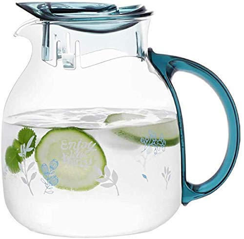 ZXL glas Pitcher karaf met deksel ijsthee Pitcher water Pitcher warm koud water ijs thee wijn koffie karaf water glas karaf - (1.5L / 50oz) blauw/Groen, Groen
