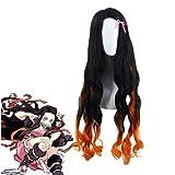 Wxypreey Anime Demon Slayer Kamado Nezuko Cosplay Perruques Longues Bouclés Dégradé Noir Orange Synthétique Cheveux Costume De Fête perruque + casquette de perruque