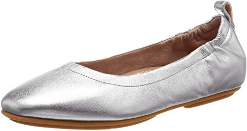 FitFlop womens Allegro Ballet Flat, Silver, 9 US