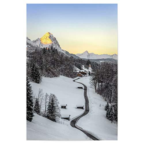 artboxONE Poster 45x30 cm Natur Wintermorgen in Wamberg hochwertiger Design Kunstdruck - Bild Bayern Bayern Berge