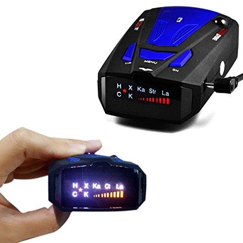 Détecteur de GPS pour voiture, détecteur de vitesse limitée à 360° pour voiture Détecteur anti-radar avec voix alerte V7Affichage LED (bleu)