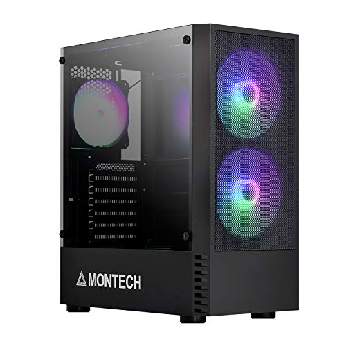 Montech X1 Black ATX Mid-Tower Case - High Airflow, Front Mesh Ventilation, Tempered Glass Side Panel, Pre-Installed 4 x 120mm Autoflow Rainbow LED Fans