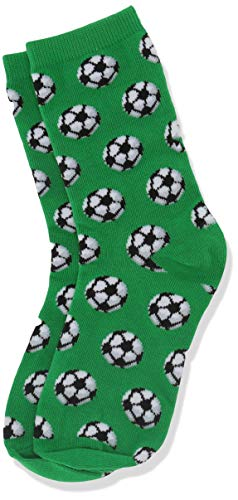 Hot Sox Boys' Big Sports Series Novelty Casual Crew Socks, Soccer (Green), Large/X-Large Youth