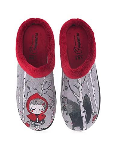 Divertidas Zapatillas de Casa para Mujer fabricadas en España Roal 12213 Caperucita - Color - Rojo, Talla - 41